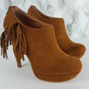XOXO Ivie Cognac Fringe Heel Ankle Boots 6.5 9F83